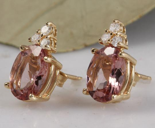 Other 2.90ct Natural Morganite and Diamond 14K Solid Yellow Gold Earrings Image 1
