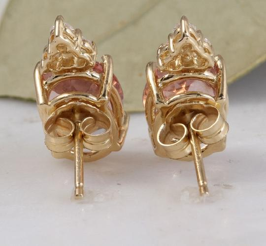 Other 2.90ct Natural Morganite and Diamond 14K Solid Yellow Gold Earrings Image 3