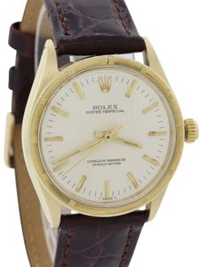 Rolex VTG Rolex Oyster Perpetual 1005 Silver 34mm 14k Yellow Gold Watch A8