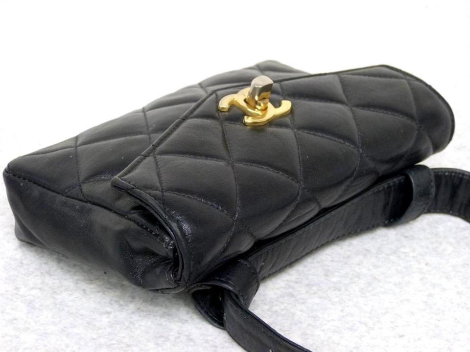 7f5c76514711 Chanel Waist Quilted Flap Chain Belt Pouch Fanny Pack 228906 Black Leather  Cross Body Bag - Tradesy