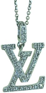 Other 18K Diamond LV Initials Diamond Pendant With Free 14k Chain
