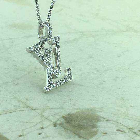 Other 18K Diamond LV Initials Diamond Pendant With Free 14k Chain Image 5