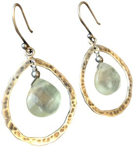 Silpada Silver and Pale Green Stone Drop Earrings