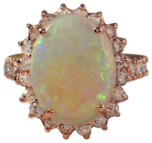Other 5.85 Carats Natural Australian Opal and Diamond 14K Rose Gold Ring