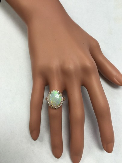 Other 5.85 Carats Natural Australian Opal and Diamond 14K Rose Gold Ring Image 10