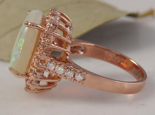 Other 5.85 Carats Natural Australian Opal and Diamond 14K Rose Gold Ring Image 2