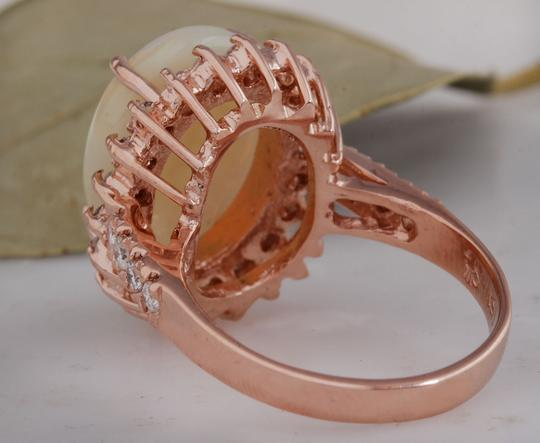 Other 5.85 Carats Natural Australian Opal and Diamond 14K Rose Gold Ring Image 3