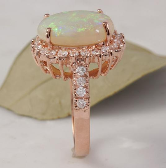 Other 5.85 Carats Natural Australian Opal and Diamond 14K Rose Gold Ring Image 4