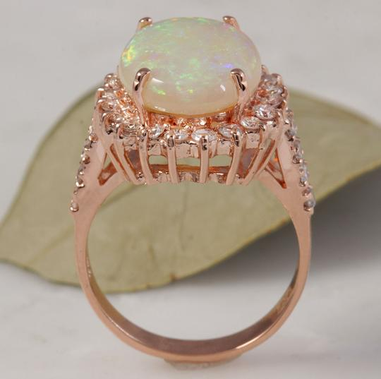 Other 5.85 Carats Natural Australian Opal and Diamond 14K Rose Gold Ring Image 5