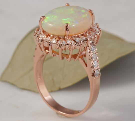 Other 5.85 Carats Natural Australian Opal and Diamond 14K Rose Gold Ring Image 6