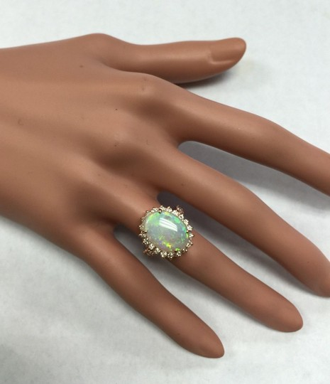 Other 5.85 Carats Natural Australian Opal and Diamond 14K Rose Gold Ring Image 7