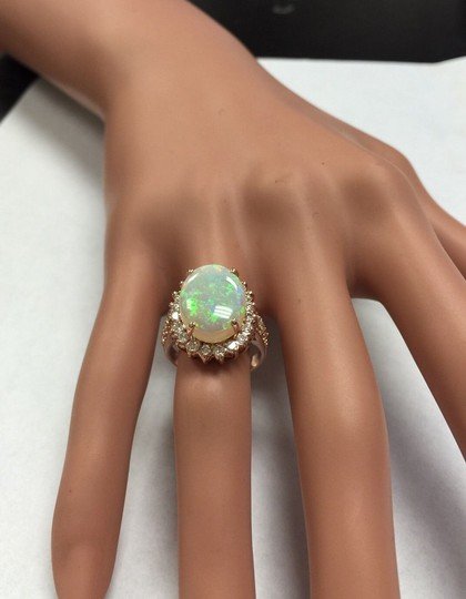 Other 5.85 Carats Natural Australian Opal and Diamond 14K Rose Gold Ring Image 8