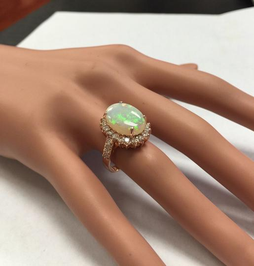 Other 5.85 Carats Natural Australian Opal and Diamond 14K Rose Gold Ring Image 9