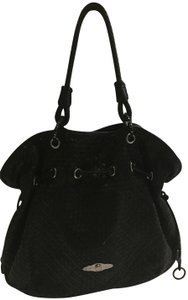 Elliott Lucca Braided Woven Leather Tote in Black