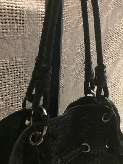 Elliott Lucca Braided Woven Leather Tote in Black Image 4