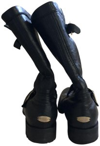 Jimmy Choo Black with gold detail buckles Boots