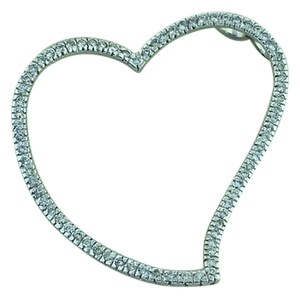 Ali1 Women's 14k White Gold Big Heart Shape 1.0 CT Diamond Pendant