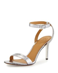 Tory Burch Metallic Leather Heels Ankle Strap Silver Sandals