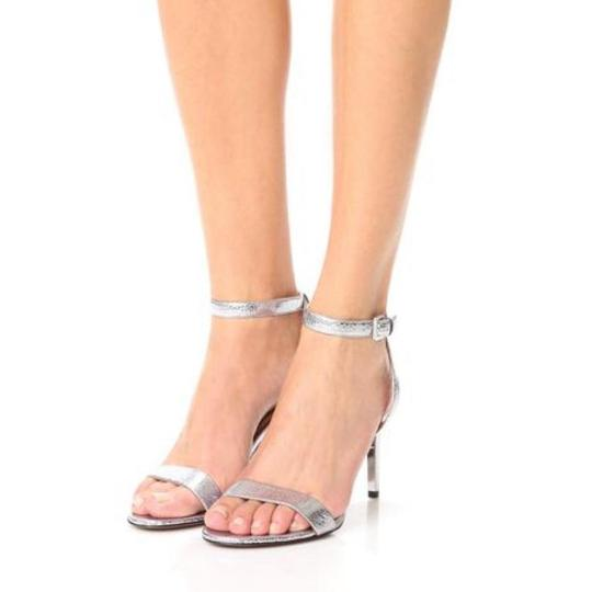 Tory Burch Metallic Leather Heels Ankle Strap Silver Sandals Image 1