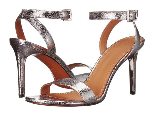 Tory Burch Metallic Leather Heels Ankle Strap Silver Sandals Image 11