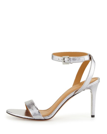 Tory Burch Metallic Leather Heels Ankle Strap Silver Sandals Image 2