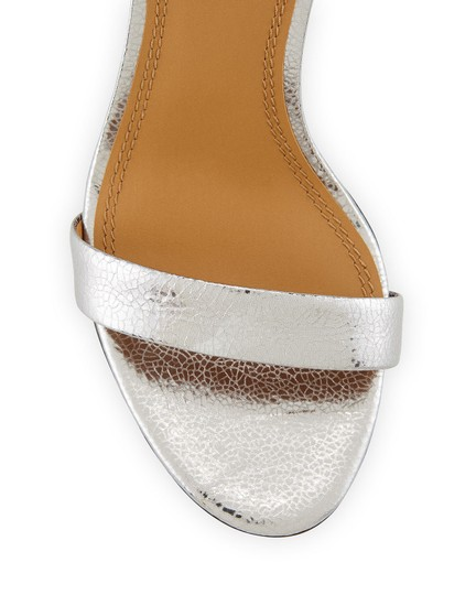 Tory Burch Metallic Leather Heels Ankle Strap Silver Sandals Image 3