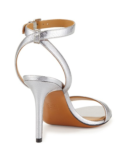 Tory Burch Metallic Leather Heels Ankle Strap Silver Sandals Image 4