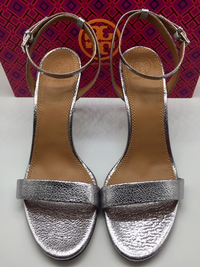 Tory Burch Metallic Leather Heels Ankle Strap Silver Sandals Image 6