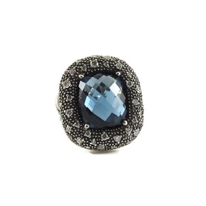 David Yurman David Yurman Sterling Silver Hampton Blue Topaz Diamond Ring