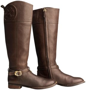 Tory Burch Logo Monogram Buckle Embossed Equestrian BROWN COCONUT Boots