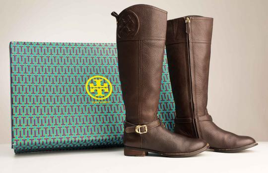 Tory Burch Logo Monogram Buckle Embossed Equestrian BROWN COCONUT Boots Image 1