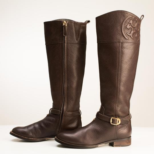 Tory Burch Logo Monogram Buckle Embossed Equestrian BROWN COCONUT Boots Image 2