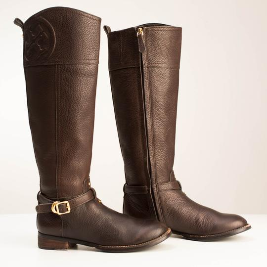 Tory Burch Logo Monogram Buckle Embossed Equestrian BROWN COCONUT Boots Image 3