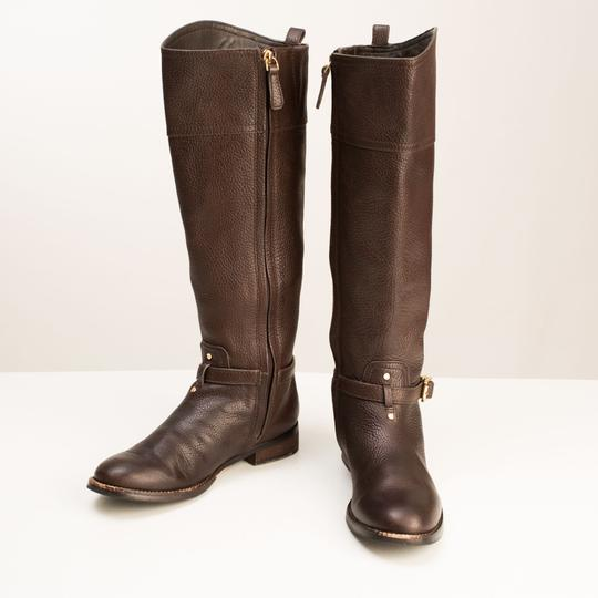 Tory Burch Logo Monogram Buckle Embossed Equestrian BROWN COCONUT Boots Image 4