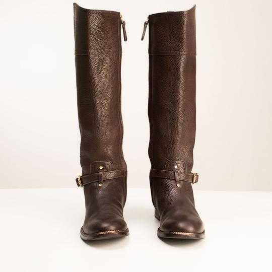 Tory Burch Logo Monogram Buckle Embossed Equestrian BROWN COCONUT Boots Image 5