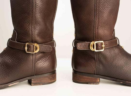 Tory Burch Logo Monogram Buckle Embossed Equestrian BROWN COCONUT Boots Image 7