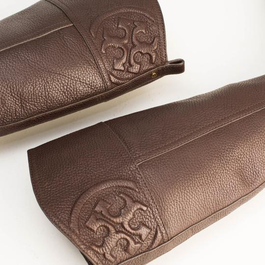 Tory Burch Logo Monogram Buckle Embossed Equestrian BROWN COCONUT Boots Image 8
