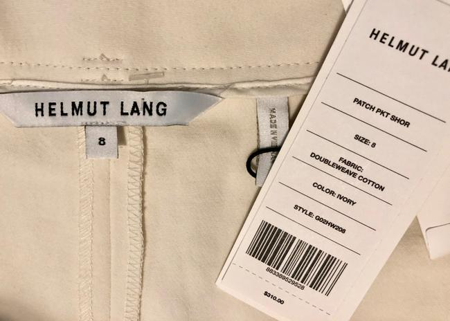 Helmut Lang Casual White Belted Cotton Mid Rise Dress Shorts Ivory Image 4