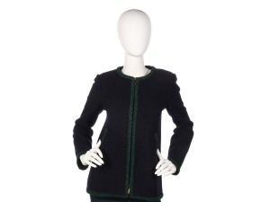 Chanel Green Coat Ch.ep0406.07 Sweater Navy Jacket