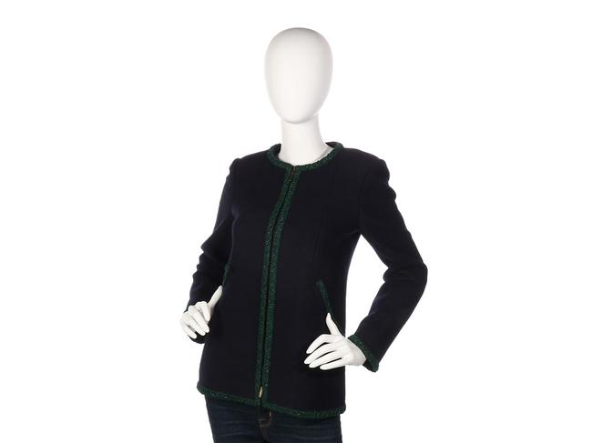 Chanel Green Coat Ch.ep0406.07 Sweater Navy Jacket Image 1