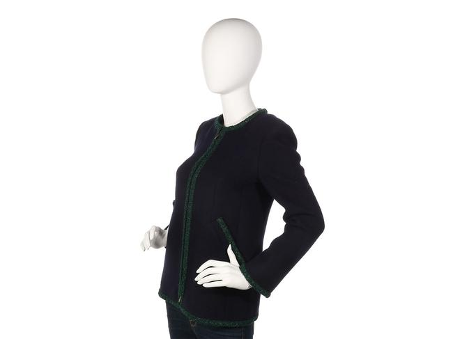 Chanel Green Coat Ch.ep0406.07 Sweater Navy Jacket Image 2