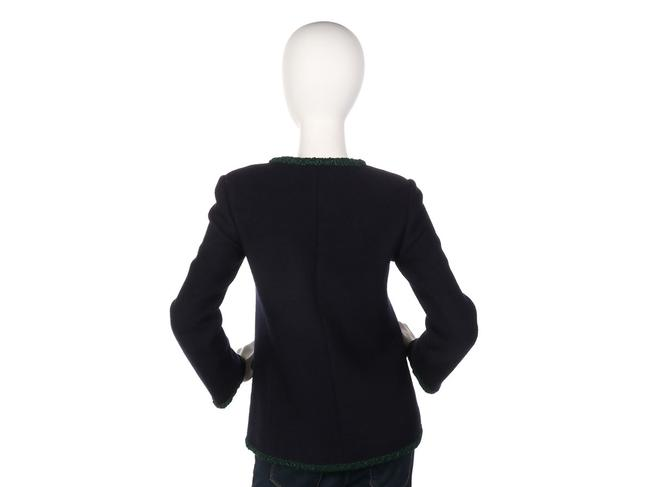Chanel Green Coat Ch.ep0406.07 Sweater Navy Jacket Image 3