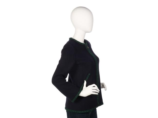 Chanel Green Coat Ch.ep0406.07 Sweater Navy Jacket Image 4