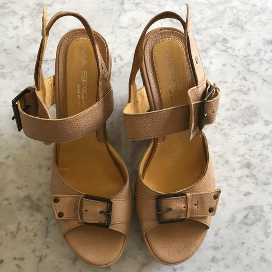 Via Spiga Wedge Sandal Buckle Tan Platforms Image 1