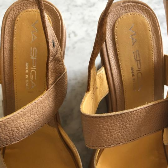 Via Spiga Wedge Sandal Buckle Tan Platforms Image 3