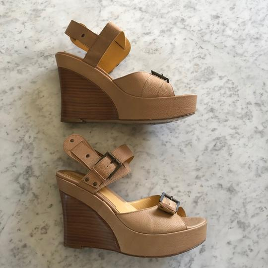 Via Spiga Wedge Sandal Buckle Tan Platforms Image 5