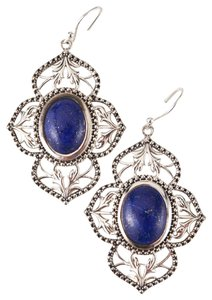 Unknown Sterling Silver & Genuine Lapis Filigree Earrings 75603