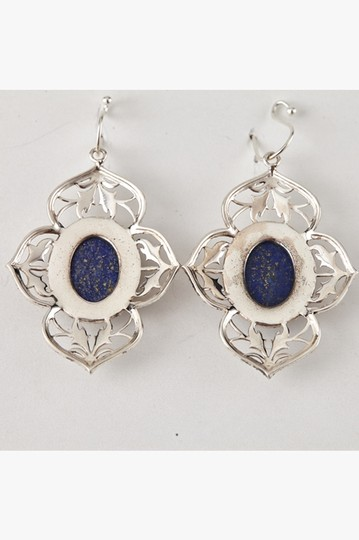 Unknown Sterling Silver & Genuine Lapis Filigree Earrings 75603 Image 1
