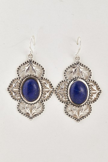 Unknown Sterling Silver & Genuine Lapis Filigree Earrings 75603 Image 2