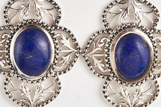 Unknown Sterling Silver & Genuine Lapis Filigree Earrings 75603 Image 4